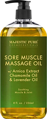 MAJESTIC PURE Arnica Sore Muscle Massage Oil for Body - Best Natural Therapy Therapy Oil with Lavender and Chamomile ...