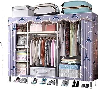 HWG Penderie Tissu Armoire en Toile Double Armoire Rangement avec 2 Tringles à Vêtements Et 7 étagères économiser De l'esp...