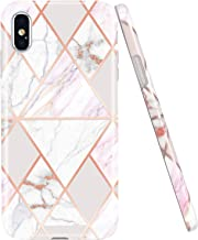 JAHOLAN Compatible iPhone X Case iPhone Xs Shiny Rose Gold Geometric Marble Design Clear Bumper Glossy TPU Soft Rubber Silicone Cover Phone Case - Pink