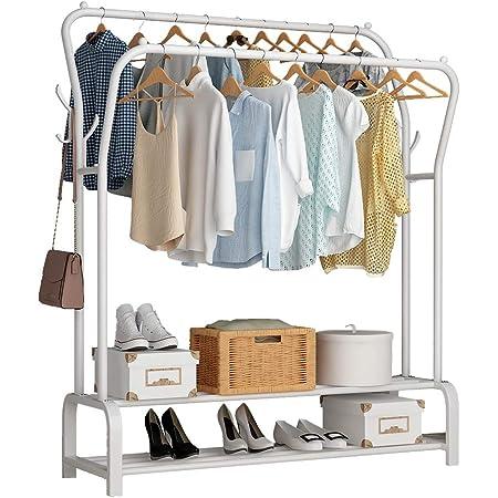 UDEAR Porte Vêtement sur Pied Cintre Tiges Doubles Chambre multifonctionnelle Portant à Vêtements, Double Couche , 8 Crochets ,Blanc