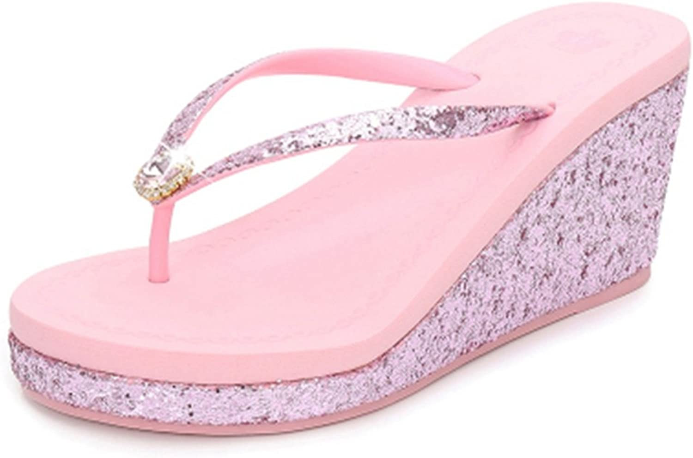 GIY Womens Fashion Wedges Platform Sandals Slide Anti-Slip High Heel Glitter Sequins Summer Beach Sandals