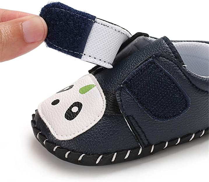 LAFEGEN Baby Boys Girls Walking Shoes Hard Bottom Non-Slip PU Leather Outdoor Sneaker Infant Cartoon Slipper Toddler First Walker Crib Shoes (3-18 Months)