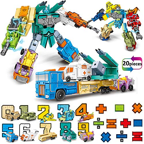 20 Pieces Number Robot Transforming Action Figure Autobots Toys for Montessori Teaching, School...