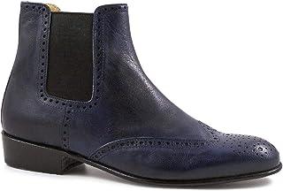 Leonardo Shoes Tronchetti Donna borgues Fatti a Mano Pelle Capretto Blu - Codice Modello: Pina 044 Blu