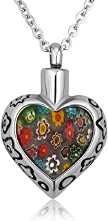 Q&Locket Heart Crystal Urn Necklaces for Ashes Stainless Steel Memorial Keepsake Cremation Jewelry