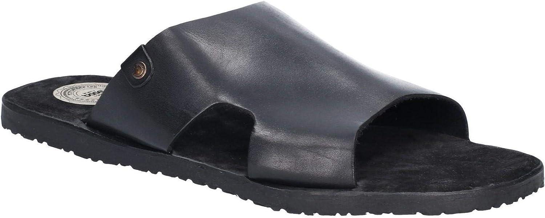 Base London Arena Mens Leather Mule Sandals Black
