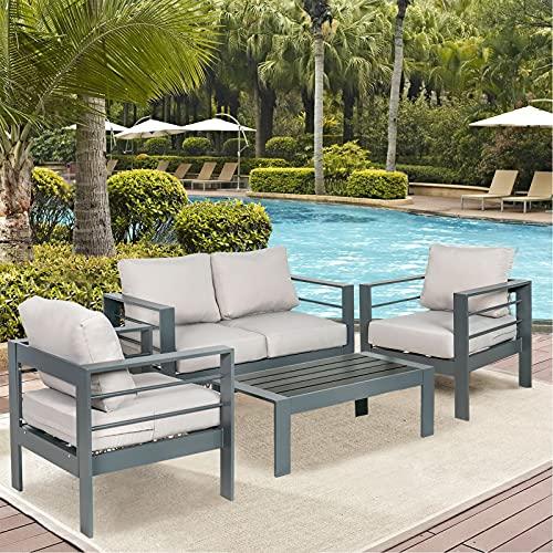 MORCOE Outdoor Patio 4 Piece Outdoor Patio Furniture Aluminum Conversation Sets, Outdoor Deep...