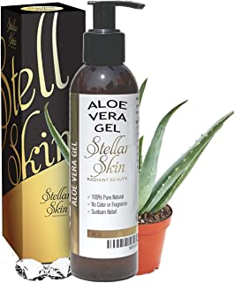 Natural Aloe Vera Gel – Organic, Perfect for Sunburn, Face, Hair, Acne, Razor Bumps, Eczema. Stellar Skin, 6 fl oz