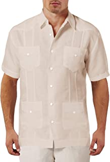 Beotyshow Mens Cuban Guayabera Camp Shirts Lapel Collar Button Down Short Sleeve Cotton Linen Shirt for Men