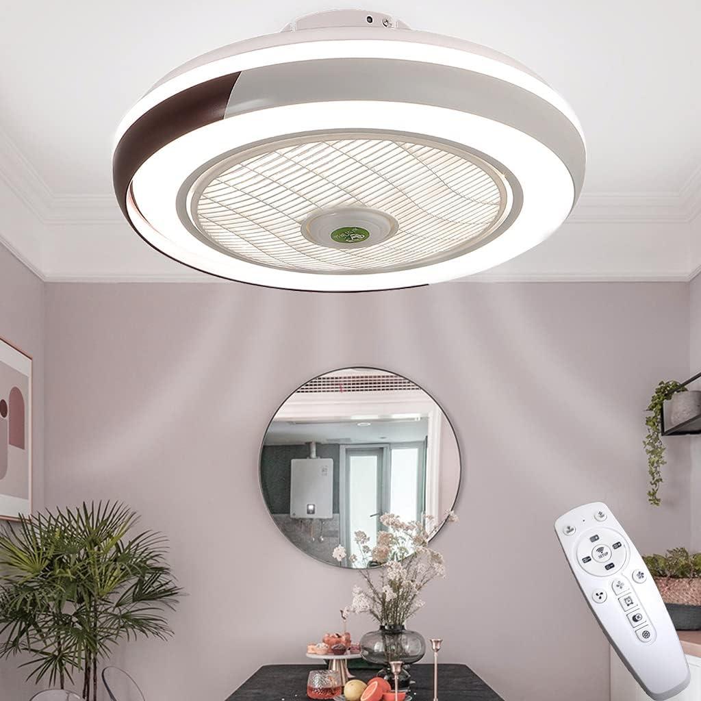 Ventilador De Techo LED Con Iluminación Ventilador Control Remoto Regulable Lámpara Techo Dormitorio Silencioso Fan 3 Velocidades Luz Techo Forma Redonda Deflector De Viento Luces Sala 50CM Marrón