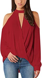 Women Lady Sexy V-Neck Off Shoulder Long Sleeve T-Shirt Tops Blouse