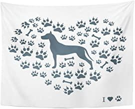 Remain Unique Tapestry Nice of Great Dane Silhouette on Dog Tracks and Bones in The Form Heart White Wall Hang Decor Indoor House Made in Soft