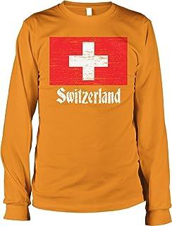 Hoodteez Flag of Switzerland, Swiss Flag, Schweizer Men's Long Sleeve Shirt