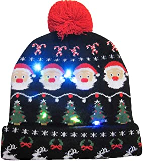 WUAI Christmas Hat for Adults, Novelties LED Light Up Hat Knitted Ugly Sweater Holiday Xmas Christmas Beanie