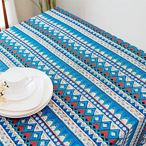 MENGMENGDA Nappe De Lin Imitation Coton Bleu Nappe Ethnique Méditerranéenne Bohème Nappe De Thé Nappe De Restaurant, 140 * 200Cm