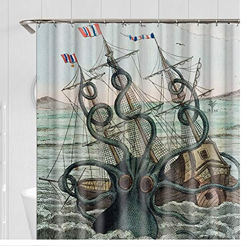 Lhh Island Boot afdrukken douchegordijn, hoogwaardige polyester materiaal afdrukken waterdichte meeldauw douchegordijn, badkamer douchegordijn 12 haken (schip)