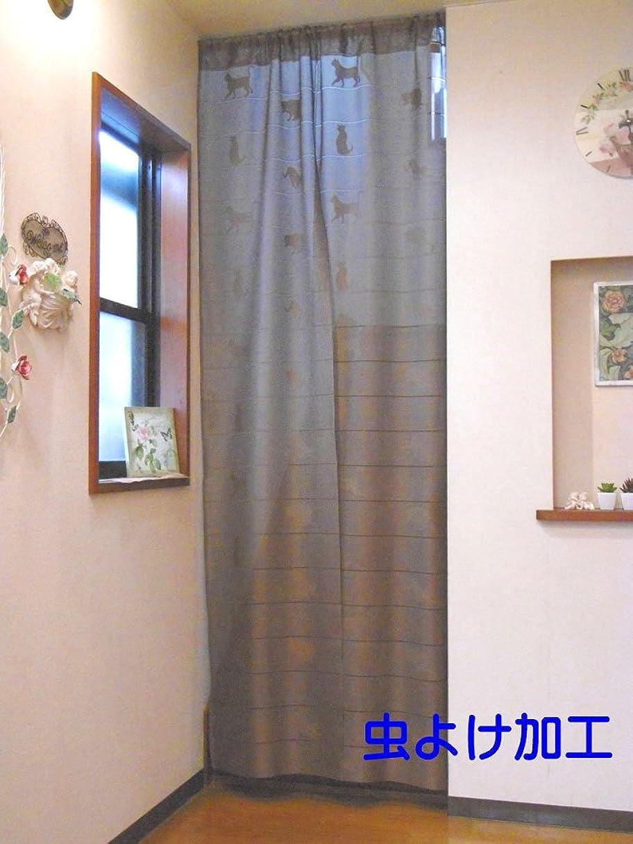 芽技術者サミュエル虫よけ加工 遮熱 冷気遮断 冷暖房効率アップ 間仕切り ロングスクリーンのれん「キャット」 (ブラウン)