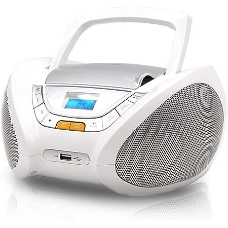 Lauson Cp443 Cd Player Mit Radio Cd Cd R Usb Fm Radio Aux In Boombox Cd Radio Player Netz Batterie Kopfhöreranschluss Weiß Heimkino Tv Video
