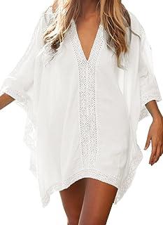 7a2edd0cd8 Walant Robe de Plage pour Femmes V-Cou Bikini Cache-Maillots Taille Unique  Coton