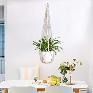 Home,Garden,Home Decor,Europe Plant Hangers Indoor Hanging Planter Basket With Wood Beads Decorative Z-128 Hand Woven Cotton Rope Flower Pot Hanging Rope Gardening Flower Pot Net Bag