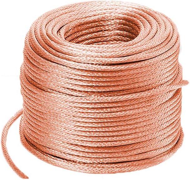 XMRISE Cable de Drenaje de Alambre de Cobre Trenzado Eléctrico Trenzado Redondo Desnudo Espiral Conexión a Tierra Flexible Conductores Conductores de 6#