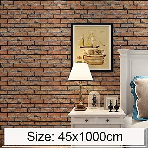 Hmg Horizontal Brick Creative 3D Stone Brick Decoration Wallpaper Pegatinas Dormitorio Sala de Estar Pared Papel Tapiz Impermeable Rollo, Tamaño: 45 x 1000cm