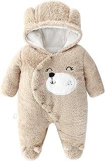 JIAMY Baby mit Kapuze Strampler Winter Overall Flanell Outfits Jungen Mädchen Pyjama SäUgling Spielanzug Footies Outwear Braun 3-6 Monate
