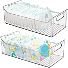mDesign Wide Storage Organizer Container Bin with Handles for Kids/Child Supplies in Kitchen, Pantry, Nursery, Bedroom, Playroom - Holds Snacks, Bottles, Baby Food - BPA Free, 16
