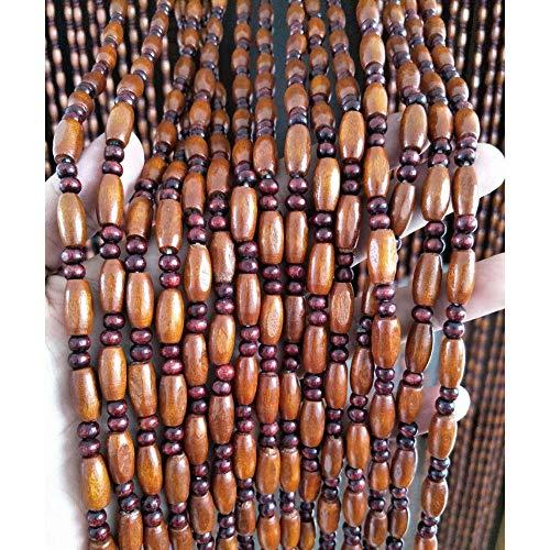 WENZHE 45 Hilos Cortinas de Cuentas de Madera for Puertas Cortina de Hilos con Cuentas Divisor de Pantalla Casa Entrada Retro Decoración, 2 Colores, Tamaños Múltiples Personalizable
