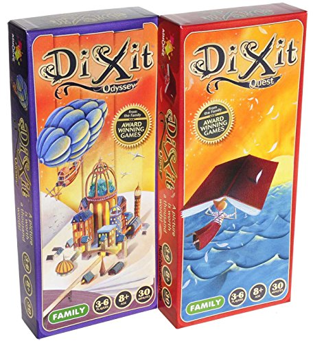 Asmodee Dixit Odyssey & Dixit Quest Expansions _ Two add-on expansions for Dixit Game _ Bundled Items (2)