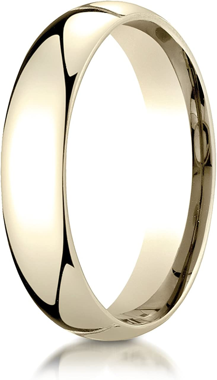 Benchmark 10K Yellow Gold 5mm Slightly Domed Standard Comfort-Fit Wedding Band Ring (Sizes 4 - 15 )