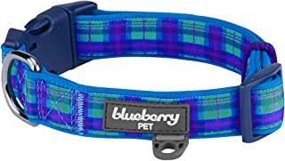 Blueberry Pet 7 Patterns Soft & Comfy Scottish Plaid Neoprene Padded Dog Collars