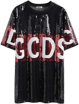 O&YQ TShirt Summer Female Korean Loose ShortSleeved long Personality Sequins Large Size Shirt, Black, 2XL