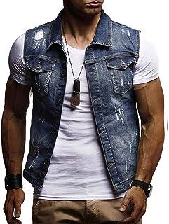 Sxgyubt - Giacca da uomo strappata in jeans, gilet senza maniche, per adulti