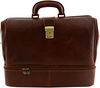 DLB - Borsa Professionale per Medico in Pelle Vera Made in Italy Colore Marrone - Pelletteria Artigianale Toscana