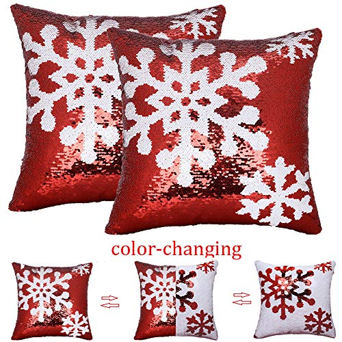 BJYHIYH Winter Snowflake Pillow Covers 18'x18'Sequin Decorative Throw Pillows Case for Sofa(Set of 2)