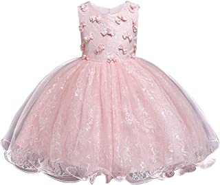HUAANIUE Girls Pageant Wedding Birthday Party Dresses for Toddler and Baby Girl - Orange - 3T / 4T