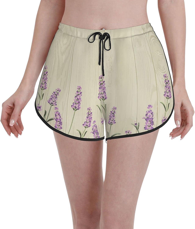Women's Girl's Swim Trunks,Lavender Aromatic Herbs On Wooden Planks Springtime Nature Botany,Beachwear Swimsuits Board Shorts Bathing Suits,M