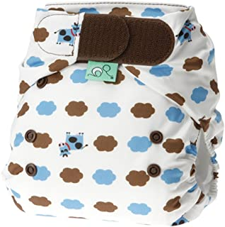 Bummis Tots Bots Easy Fit One-Piece Diaper 8-35 lbs, Hook and Loop (Blue Moo)