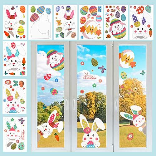 LAMEK 9 Pcs Tiere Fenstersticker Hasen Fensterbilder Schmetterling Fensteraufkleber Wiederverwendbar Fenster Aufkleber DIY Kinderzimmer Fensterdekoration für Wohnzimmer Schlafzimmer Babyzimmer