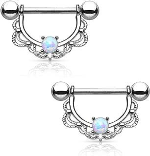 Opal Center Filigree Drop 316L Surgical Steel Nipple Ring