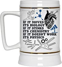 If It Doesn't Work It's Physics Beer Mug, If It Move It's Biology If It Stinks It's Chemistry Beer Stein 22oz (Beer Mug-White)