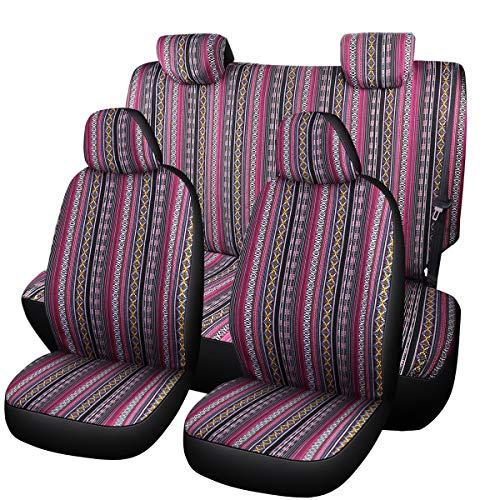 SHAKAR Universal Seat Covers for Cars,Full Sets,Tribal Boho Stripe,Cozy,Breathable Cloth (boxi-f)