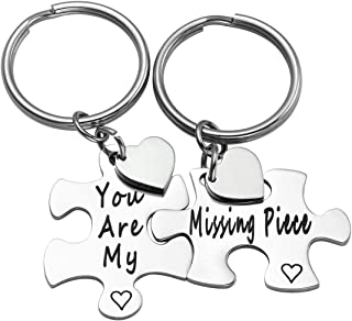 Jovivi Set of 2 Stainless Steel Matching Puzzle Couples Keychains You are My Missing Piece for Lover