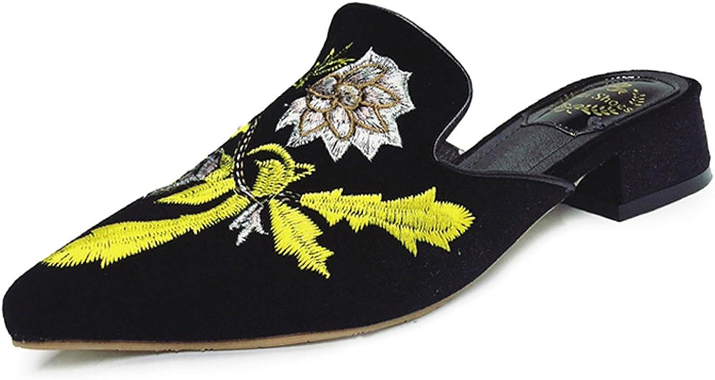 Embroidery Women Slippers Flower Decoration Velvet Mules shoes Slides Flats On Sandals Ladies Half