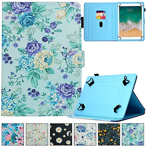 Universal Case for 9.0-10.5 inch Tablet,REASUN Slim Folio PU Leather Card Slot Wallet Shell for Apple/Samsung/Kindle/Huawei/Lenovo/Android/Dragon Touch 9.7 9.6 10.1 10.5 Inch Tablet (Purple Floral)