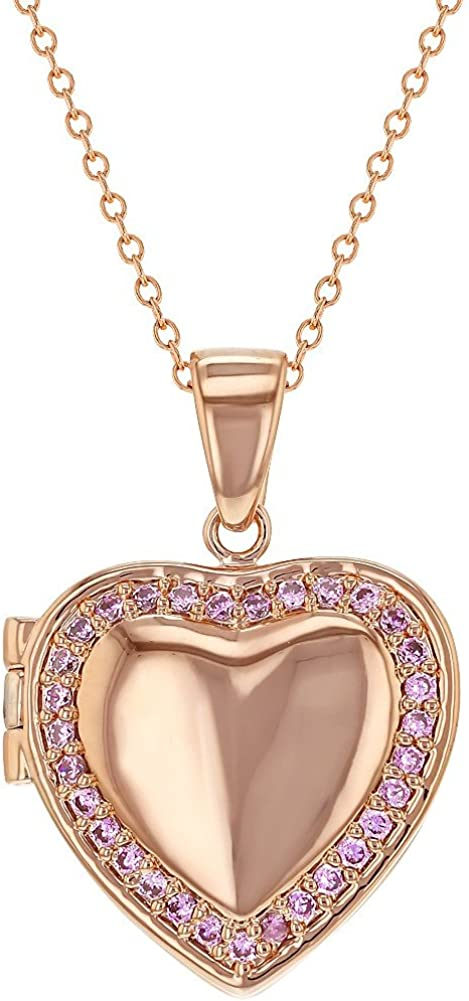 In Season Jewelry Rose Gold Plated Pink Cubic Zirconia Heart-Shaped Photo Locket Pendant Necklace for Teens and Women 19