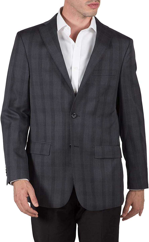 Prontomoda Men's 4900050 Single Breasted 100% Luxury Lamb's Wool Classy Plaid Blazer/Sport Coat - Charcoal Plaid - 40L
