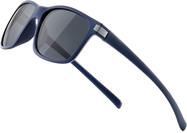 SUNGAIT Classic Square Polarized Sunglasses For Men Women Horn Rimmed Design