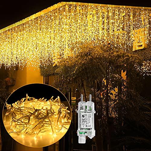 UISEBRT LED Lichterkette Lichtervorhang 10m für Außen Innen - 400 LEDs Warmweiß Lichterkettenvorhang mit 8 Modi, IP44 Wasserfest für Weihnachten Halloween Party Garten (10m, Eisregen Lichterkette)